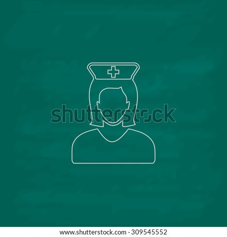 Nurse. Outline icon. Imitation draw with white chalk on green chalkboard. Flat Pictogram and School board background. Illustration symbol - stock photo