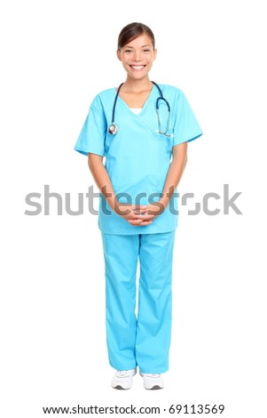 Nurse standing isolated over white background. Mixed-race Asian / Caucasian woman nurse or young medical doctor smiling in full length. - stock photo