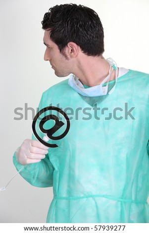 Nurse with an at sign