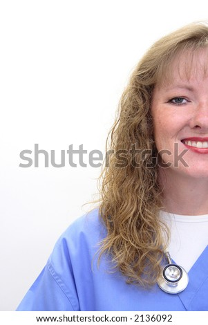 Nurse with long blonde, hair wearing a stethoscope and scrubs. Photo intentionally taken of only half her face.  Isolated on white. - stock photo