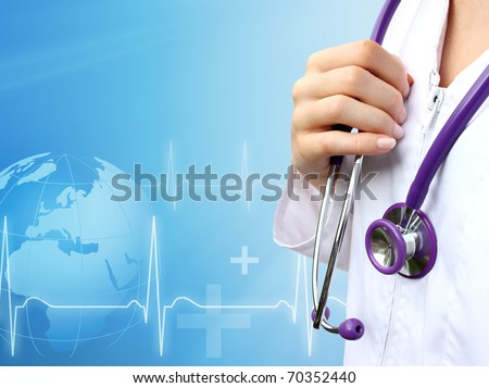 Nurse with medical blue background - stock photo