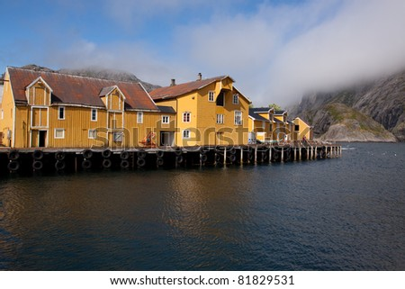 Nusfjord villa Norway (july 2011) - stock photo