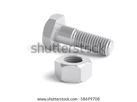 nut and bolt,three-dimensional granting - stock photo