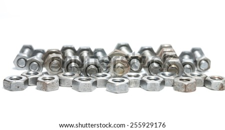 nut and bolts for equipment industrial background - stock photo