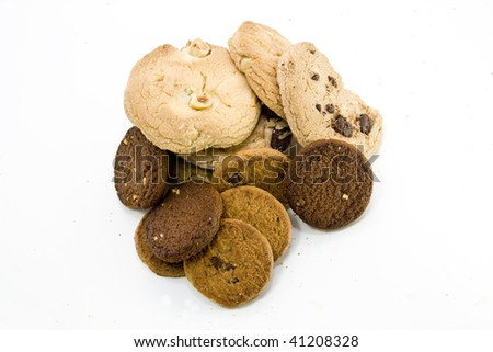Nut and Chocolate Cookie on isolated white Background