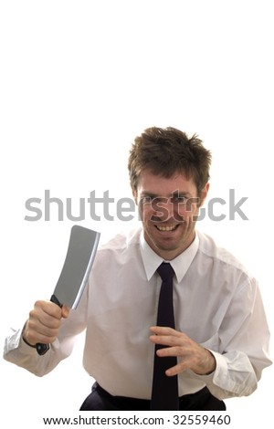Nut case business man armed with meat cleaver - stock photo