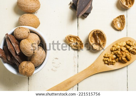 nut tart ingredients on white, rusty wood table