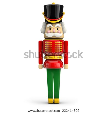 Nutcracker Christmas soldier toy isolated on white background with clipping path.  - stock photo