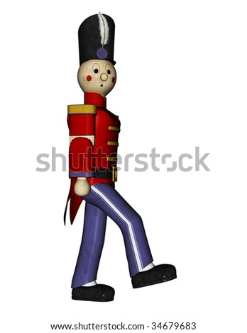 Nutcracker Suite Toy Soldier red uniform, side view marching. head turned toward camera. Illustration on clean white background. - stock photo