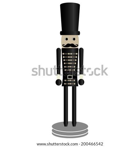 nutcracker toy over white background illustration - stock photo