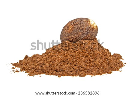 Nutmeg and its powder isolated on a white background - stock photo