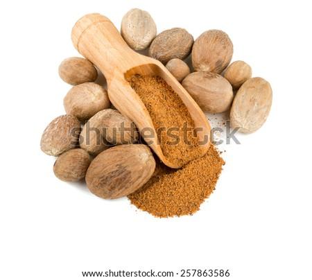 nutmeg isolated on white - stock photo
