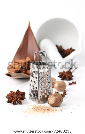 Nutmegs, cloves, anise and cinnamon with grater and mortar on white background. Shallow dof - stock photo