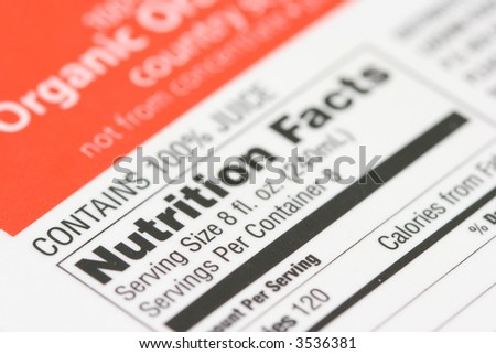 Nutrition facts from a box of Organic orange juice - stock photo