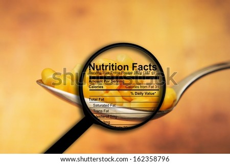 Nutrition facts, yellow corn - stock photo