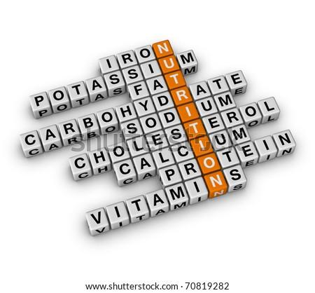 Nutrition Ingredient (3D crossword orange series) - stock photo