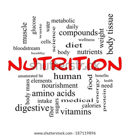 Nutrition Word Cloud Concept in red caps with great terms such as human, body, diet and more.