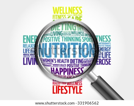 Nutrition word cloud with magnifying glass, health concept - stock photo