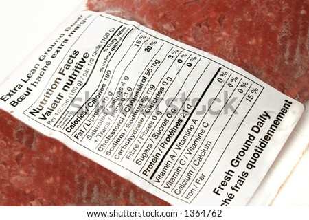 nutritional label on lean ground beef package - stock photo