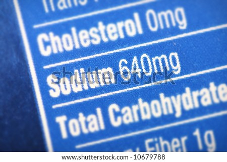 Nutritional label with focus on sodium/salt. - stock photo