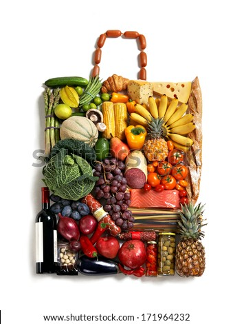 Nutritious handbag / studio photography of designer handbag made from different fruits and vegetables - on white background  - stock photo