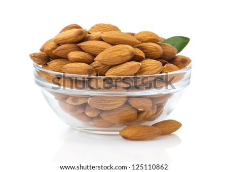 nuts almond isolated on white background - stock photo