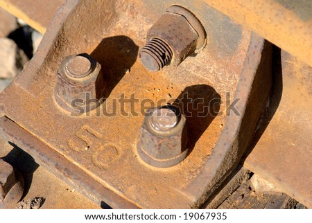 Nuts and bolts of a railway - stock photo