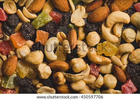 Nuts and Dried Fruits Background, Top View