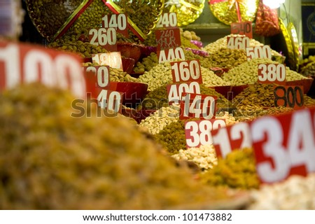 Nuts and spices on display in Old Delhi, India