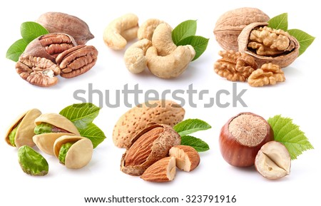 Nuts collage - stock photo