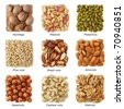Nuts collection  with titles isolated on white background - stock photo