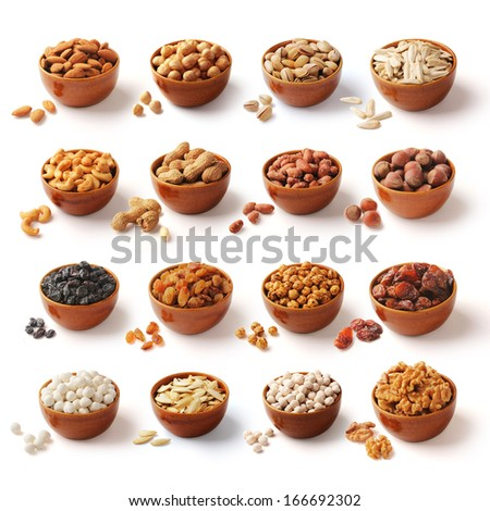 Nuts family with clipping path - stock photo