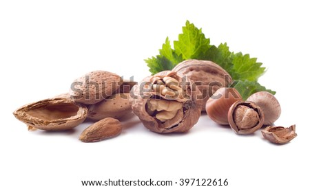 nuts isolated on white background - stock photo