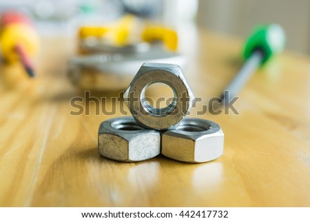 Nuts on wood table - stock photo