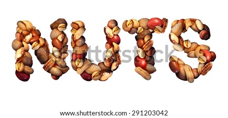 Nuts symbol as letters made with a mixed assortment of raw seeds pecan with walnut brazil nut peanut,hazelnut pistachio almond and cashew as a healthy food symbol. - stock photo