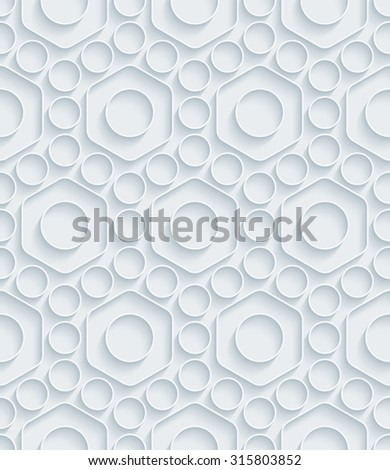 Nuts. White paper with outline extrude effect. Abstract 3d seamless background. - stock photo