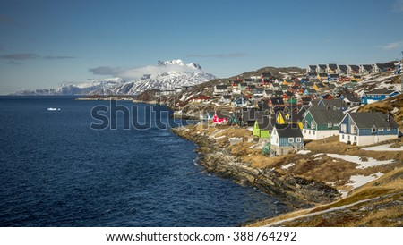Nuuk, Greenland. Houses near the water - stock photo