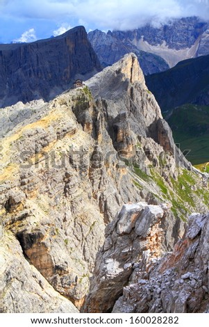 Nuvolau and other mountain peaks under gloomy sky, Dolomite Alps, Italy - stock photo