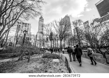 NY - Manhattan 31 dec 2014: classic view from central park in manhattan - stock photo