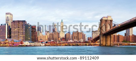 NY - Manhattan over the river - early morning - stock photo