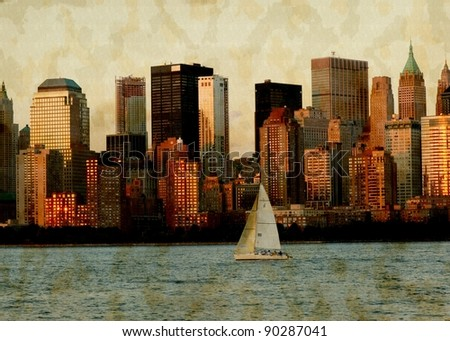NYC grunge photo - stock photo