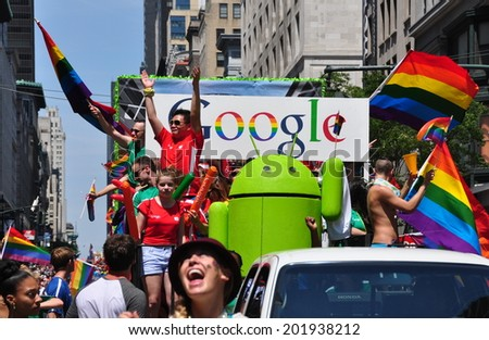 NYC - June 29, 2014:  GOOGLE goes rainbow at the 2014 Gay Pride Parade on Fifth Avenue - stock photo