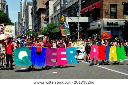 NYC - June 29, 2014:  Marchers from the Queer Asian group at the 2014 Gay Pride Parade on Fifth Avenue - stock photo