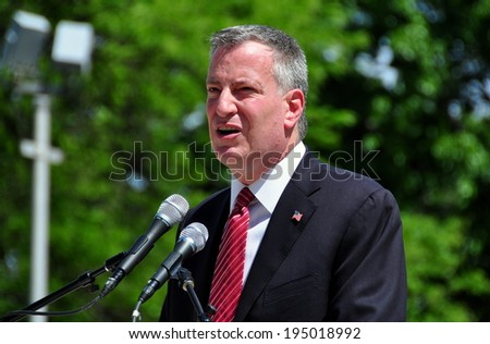 NYC - May 26, 2014: New York City Mayor Bill DeBlasio speaking at the annual Memorial Day holiday ceremonies in Riverside Park - stock photo