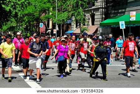 NYC - May 18, 2014:  People of all ethnicity participating in the 2014 AIDS WALK New York