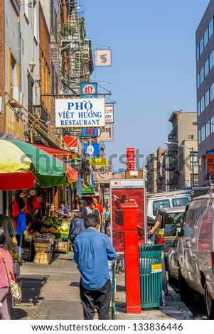 """NYC,USA - SEPT 24: Shops and restaurants on Mulberry street on Sept 24, 2008.  Mulberry Street was usually referred to as """"Slaughter-house Street"""", named for the slaughterhouse of Nicholas Bayard - stock photo"""