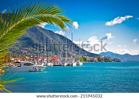 Nydri harbour at Lefkada island, Greece. - stock photo