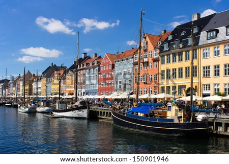 Nyhavn, a historic canal and entertainment district in Copenhagen, Denmark. - stock photo