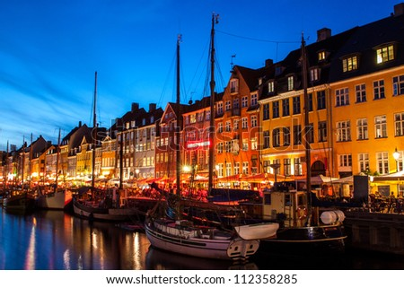 Nyhavn at night in Copenhagen, Denmark