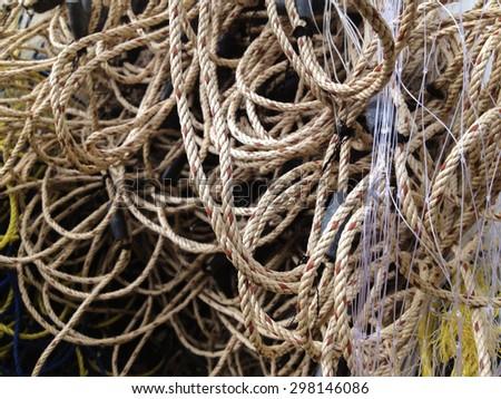 Nylon fishing net texture and background - stock photo
